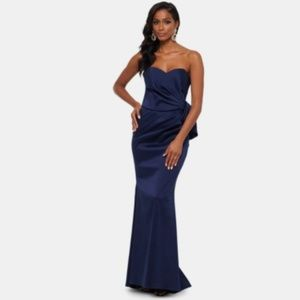 Xscape Strapless Bow-Front Evening Gown Navy Dress